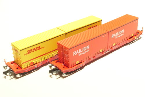 Hobbytrain H23764 DB AG 2x container car red